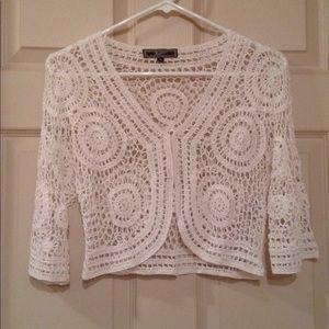White Cropped Mesh/Knit/Crochet Style Cardigan